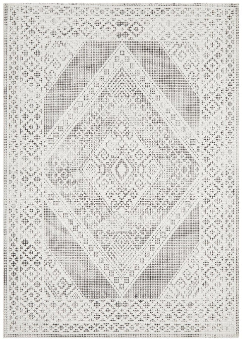 Caracas White and Black Diamond Distressed Outdoor Rug