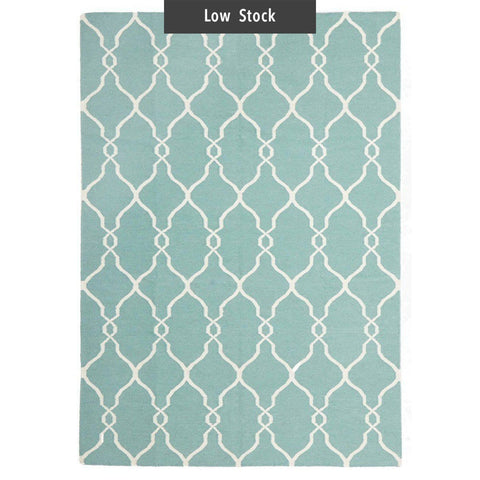 Sainte Marine Sky Blue Flatweave Wool Rug (Low Stock)