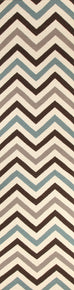 Suez Teal & Brown Chevron Flatweave Runner Rug