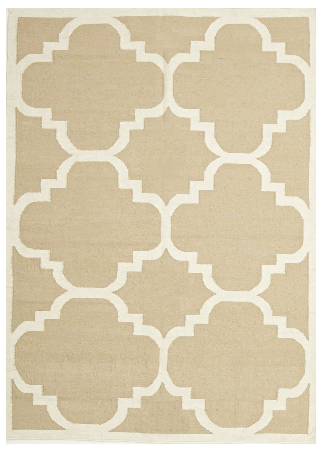 Jerusalem Beige Lattice Flatweave Dhurrie Rug