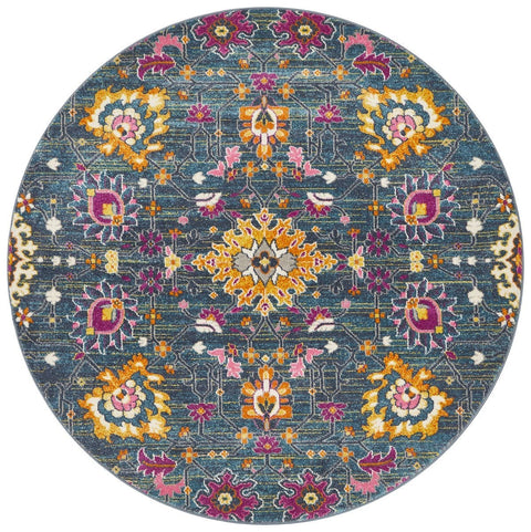 Chatres Blue Round Traditional Floral Rug