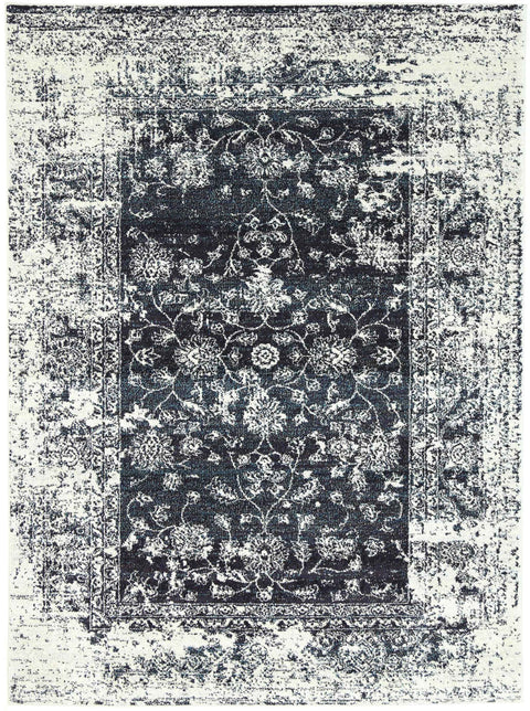 Chester Black Ivory and Navy Floral Transitional Rug