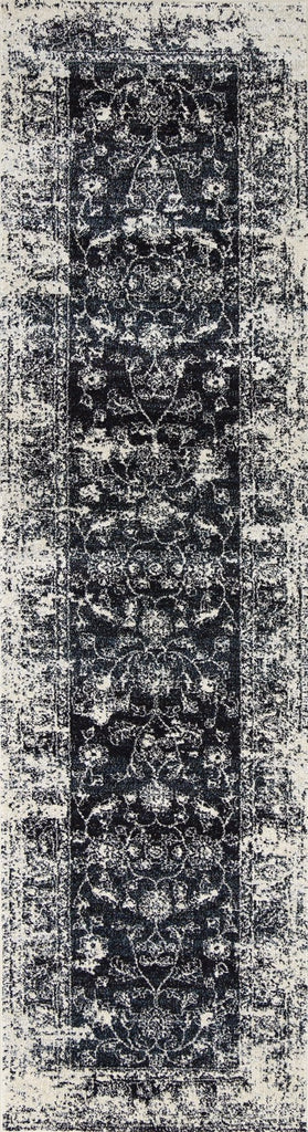 Chester Black Ivory and Navy Floral Transitional Runner Rug