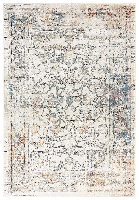 Constance Beige and Blue Distressed Floral Rug