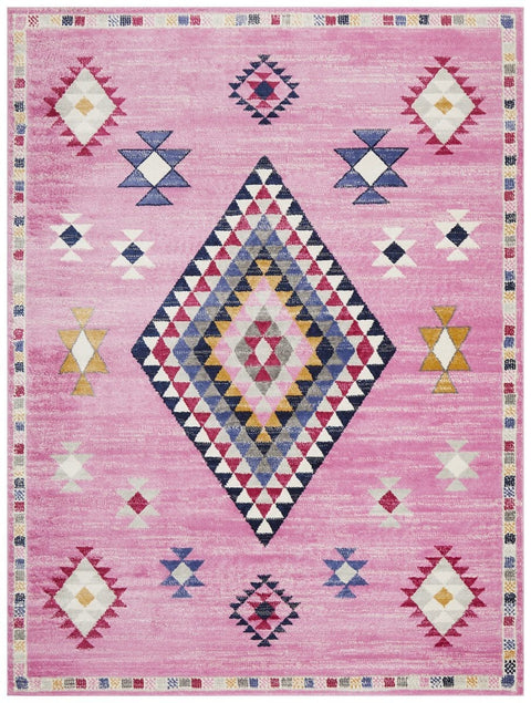 Cotoca Bordered Pink Tribal Medallion Rug