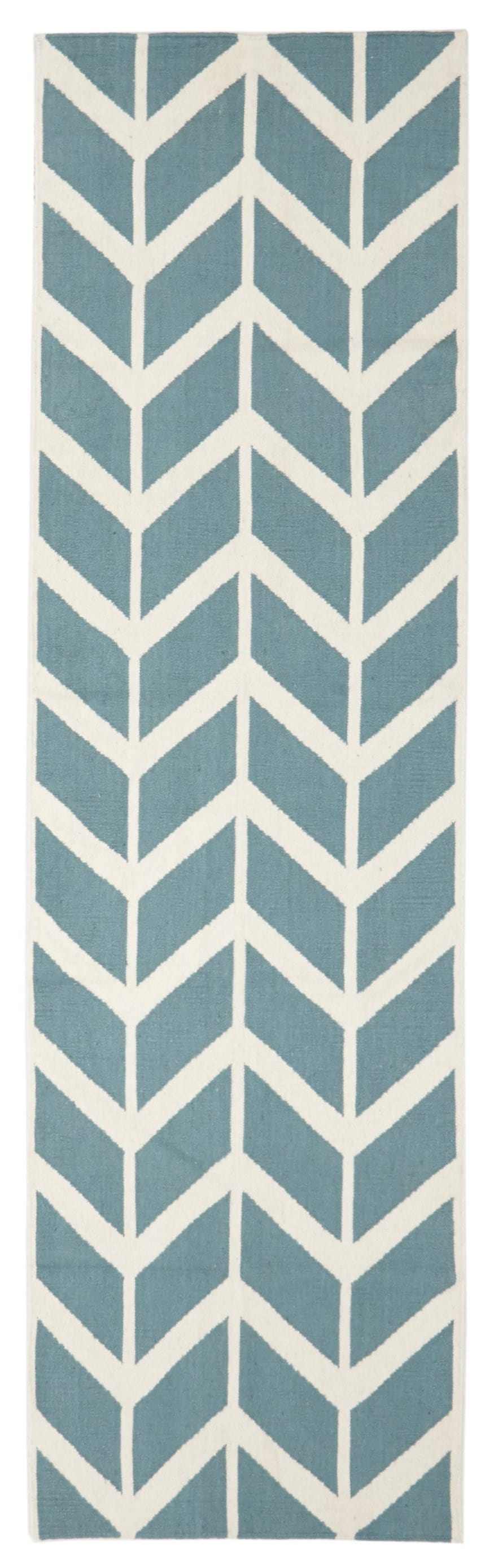 Lofoten Light Blue Arrow Wool Runner Rug