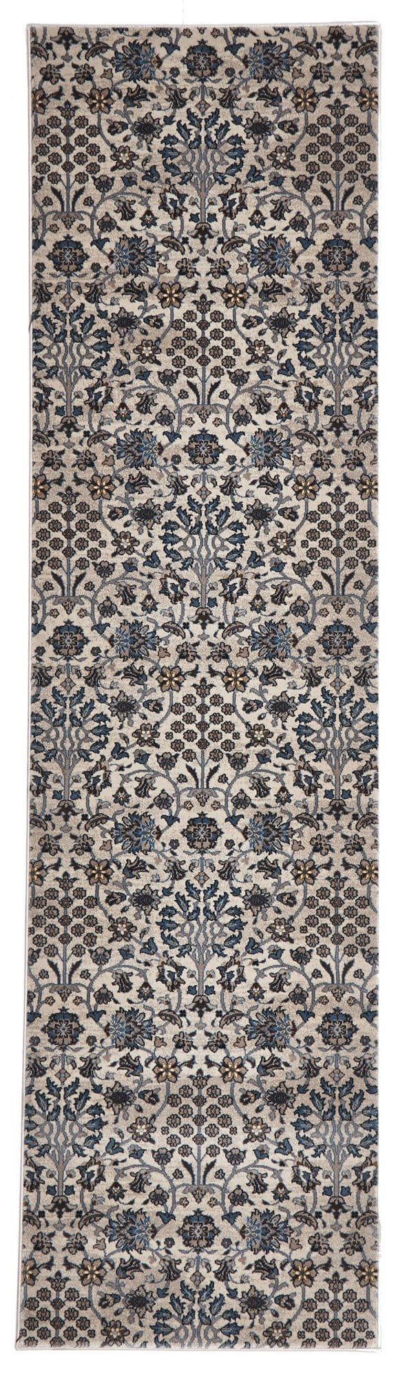 Bursa Ivory & Blue Intricate Floral Turkish Runner Rug