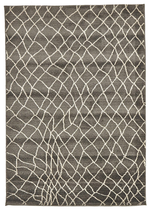 Tétouan Grey Waved Net Moroccan Rug