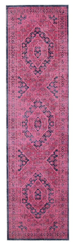 Dahuk Pink Distressed Vintage Look Runner Rug