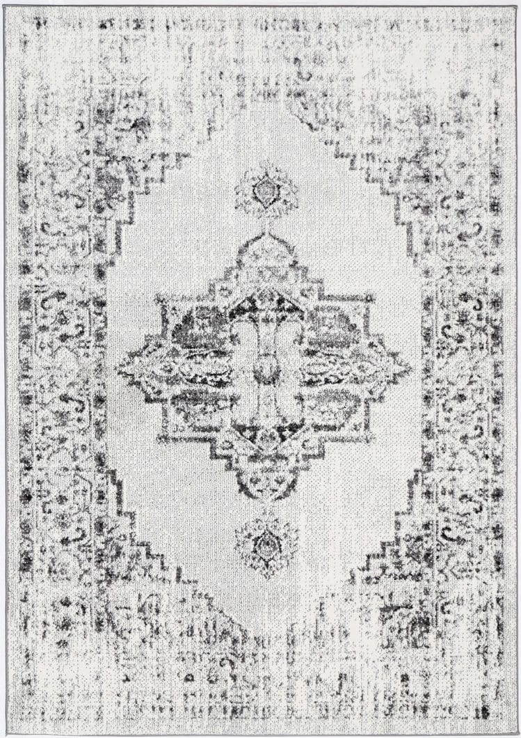 Dakar Ivory and Charcoal Distressed Medallion Rug