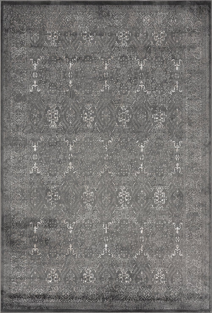 Dalma Charcoal Grey and Ivory Traditional Distressed Rug