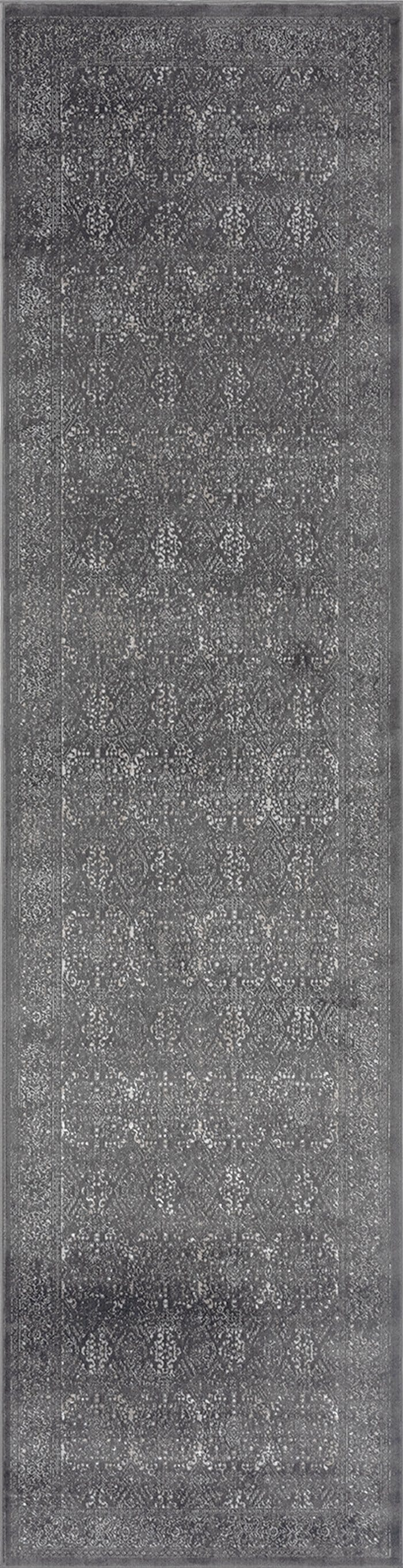Dalma Charcoal Grey and Ivory Traditional Distressed Runner Rug