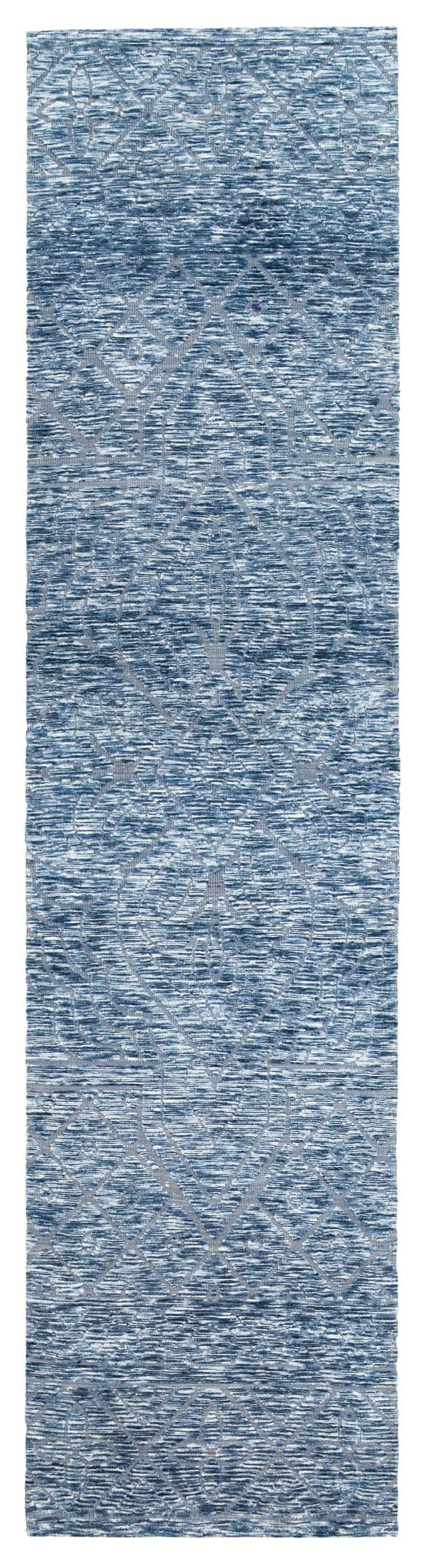 Darcy Blue Ivory and Charcoal Textured Tribal Runner Rug