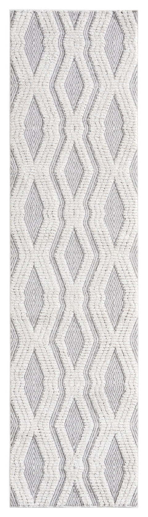 Dayna Ivory and Grey Textured Diamond Tribal Runner Rug