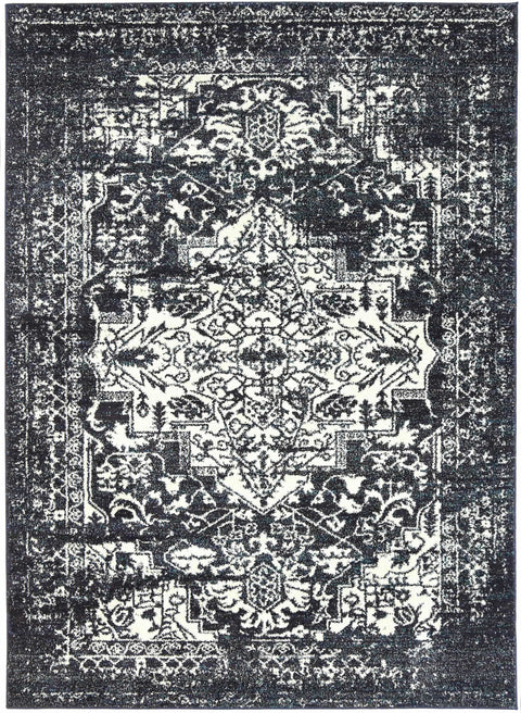 Delta Black Ivory and Navy Distressed Transitional Rug