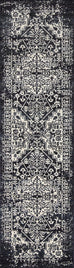 Delta Black Ivory and Navy Distressed Transitional Runner Rug