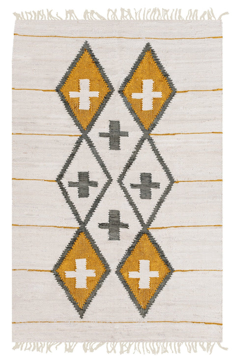 Amigos de Hoy Totem Cream & Metallic Gold Cotton Rug