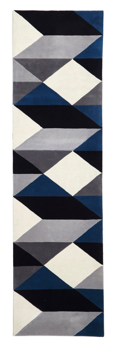 Dresden Navy & Grey Geometric Wool Runner Rug