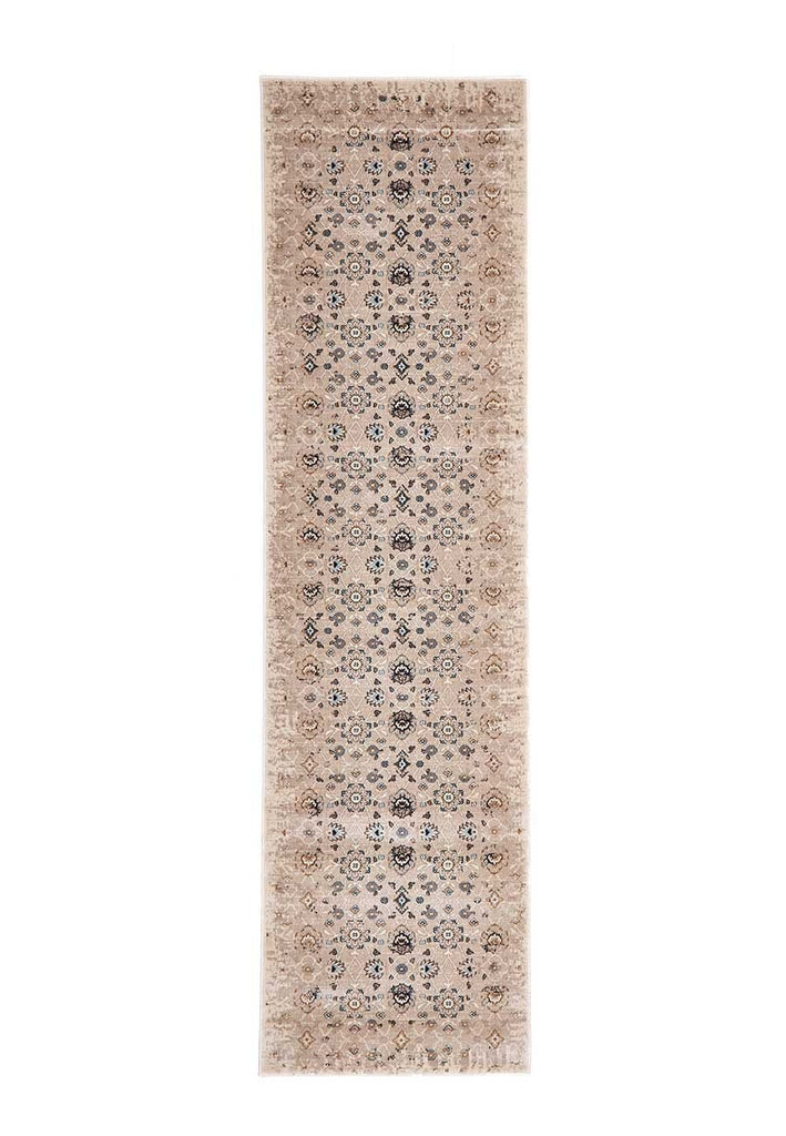 Alanya Ivory Faded Floral Runner Rug