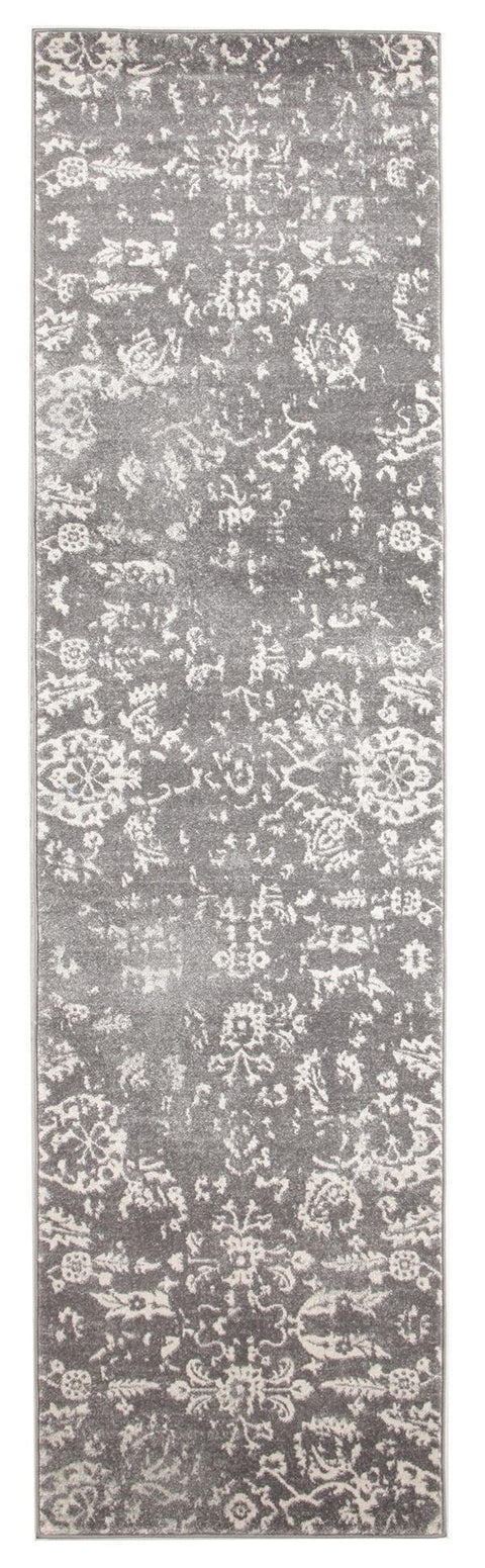 Solin Grey & Ivory Floral Runner Rug