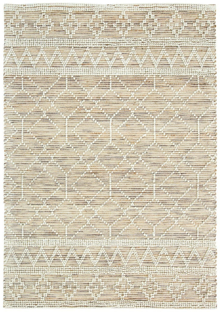 Edita Taupe Tribal Pattern Wool And Hemp Flatweave Rug