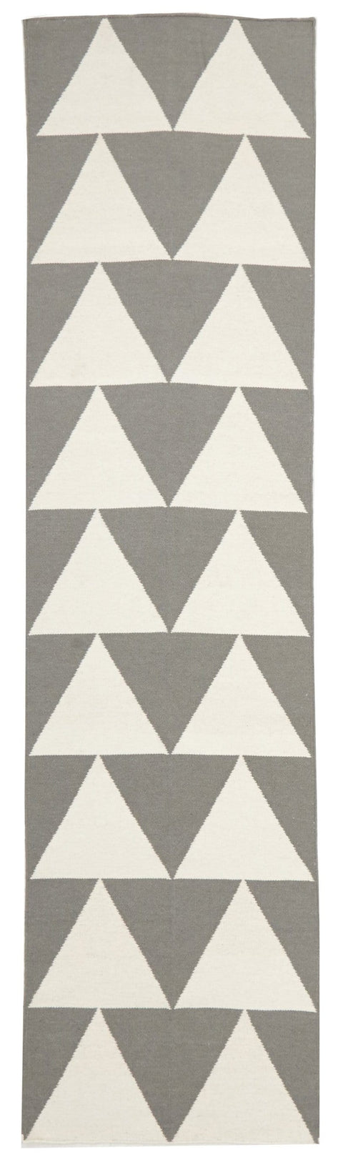 Turku Grey & White Triangle Flatweave Runner Rug