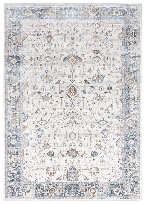 Eleanor Cream Blue and Tan Traditional Rug