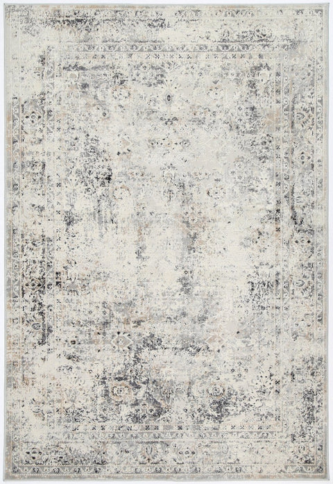 Elkhart Beige Grey and Ivory Floral Motif Distressed Rug