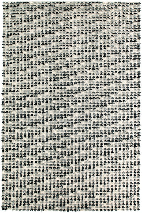 Ellen Black and White Tassel Wool Rug (Pre-Order)