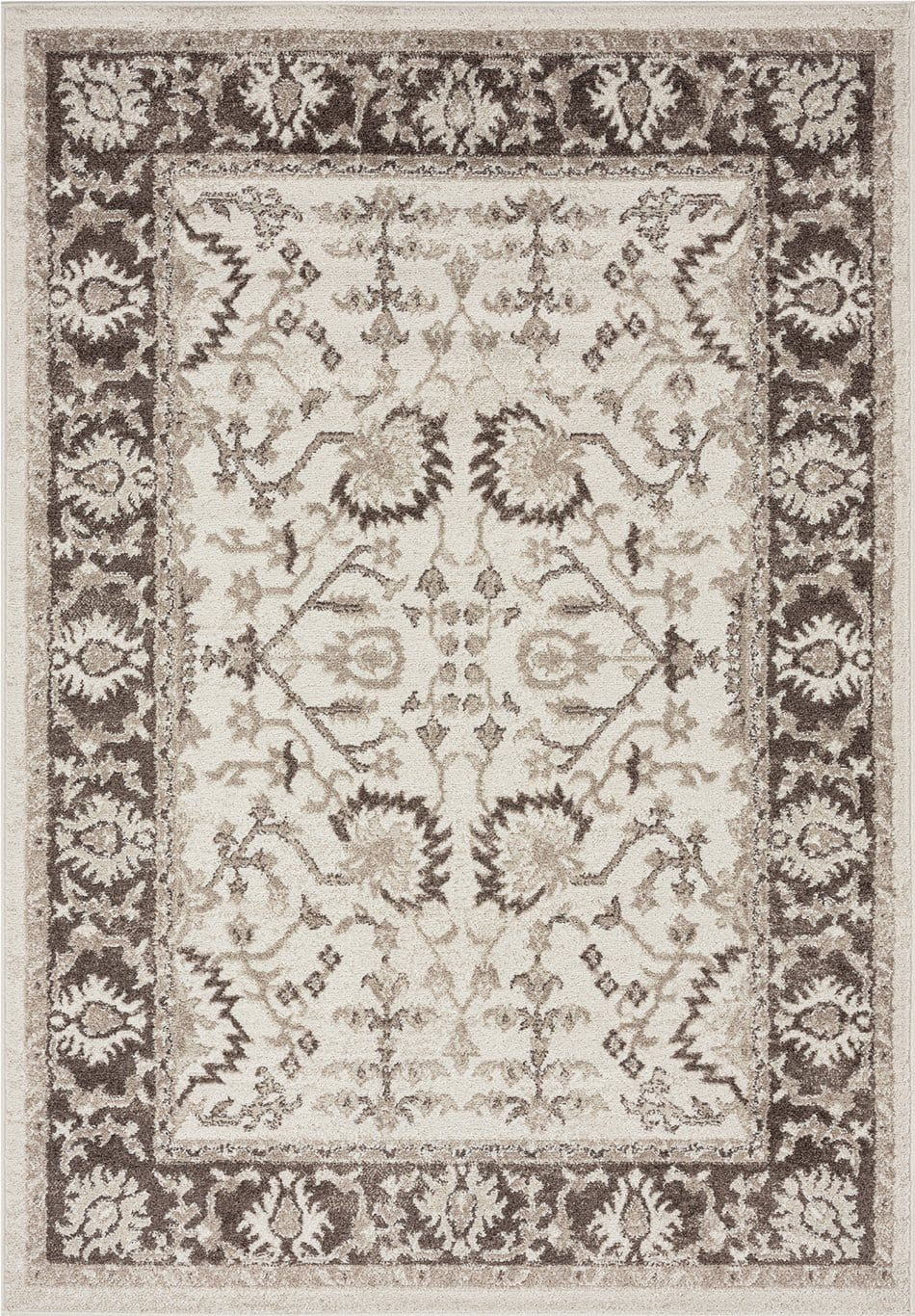 Elsa Cream and Brown Traditional Bordered Floral Rug