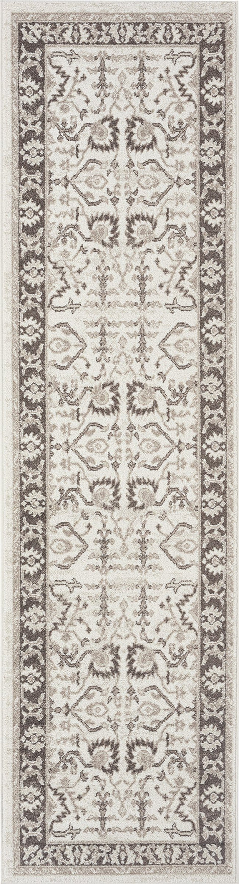 Elsa Cream and Brown Traditional Bordered Floral Runner Rug