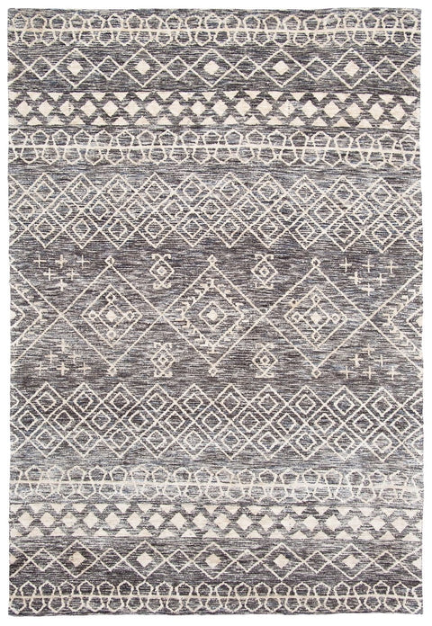 Emery Charcoal and Ivory Tribal Rug