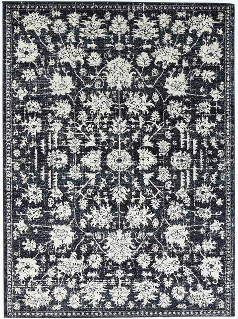 Ennis Ivory Black and Navy Floral Transitional Rug