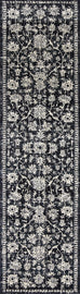 Ennis Ivory Black and Navy Floral Transitional Runner Rug