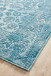 Enns Blue Traditional Bordered Floral Rug
