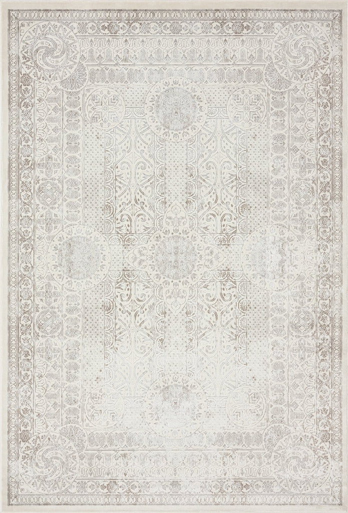 Esmeray Ivory and Grey Traditional Distressed Rug