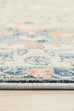 Esna Blue and Peach Traditional Distressed Medallion Rug