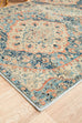 Esna Blue and Peach Traditional Distressed Medallion Runner Rug
