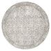 Evangeline Stone Grey Distresed Floral Design Round Rug