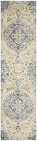 Evora Blue and Gold Floral Medallion Runner Rug