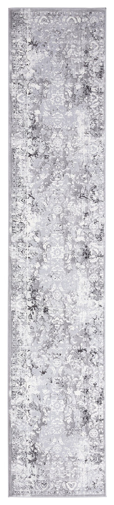 Evryn Charcoal Grey and Ivory Distressed Floral Runner Rug