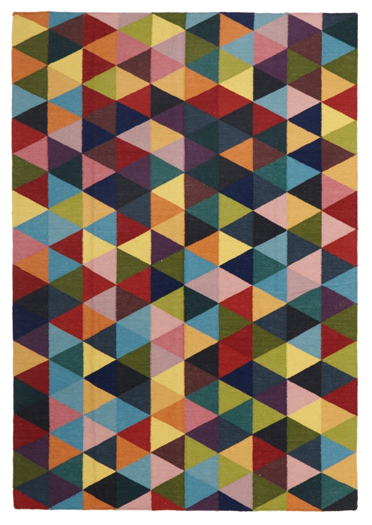 Düsseldorf Multi-Coloured Geometric Wool Kilim Rug
