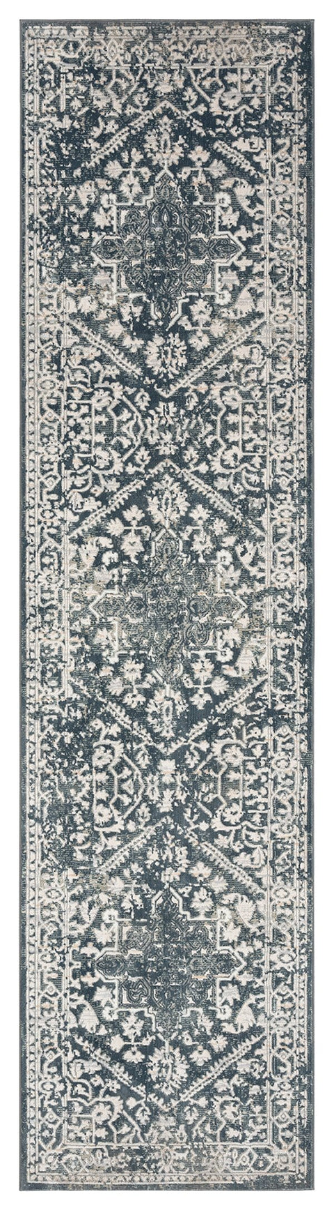 Fahri Charcoal Grey and Ivory Traditional Distressed Runner Rug