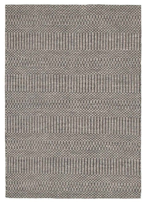 Farum Grey & Black Flatweave Cotton & Wool Rug