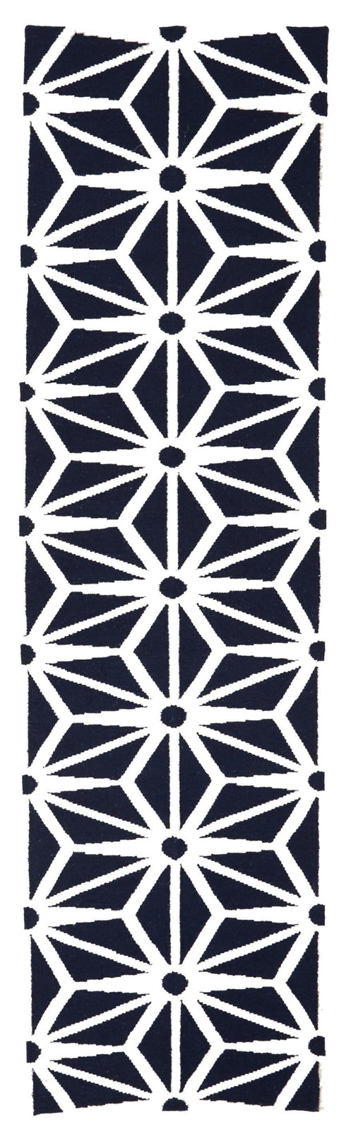 Kirkenes Navy & White Starburst Wool Runner Rug