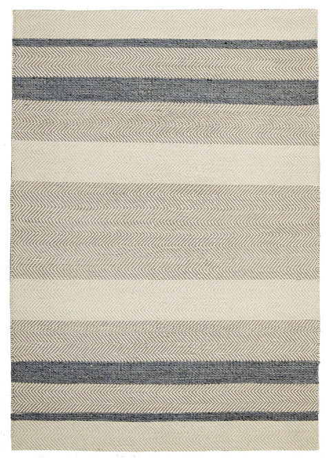 Baracoa Blue Slate Striped Cotton & Wool Flatweave Rug