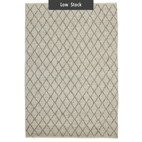 Mancora Ivory & Grey Lattice Wool & Viscose Rug (Low Stock)