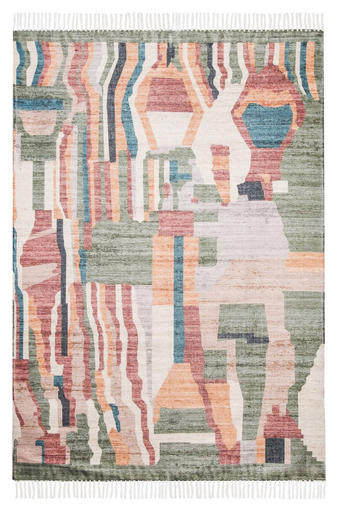 Fern Green and Orange Multi-Colour Abstract Tribal PET Beach Rug