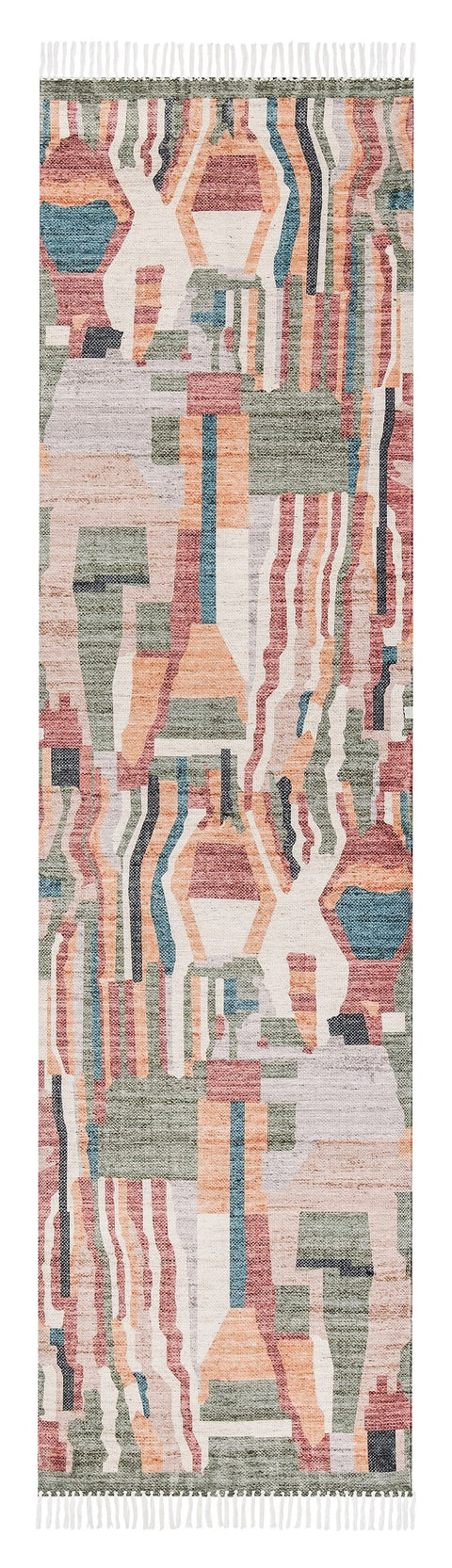 Fern Green and Orange Multi-Colour Abstract Tribal PET Runner Rug
