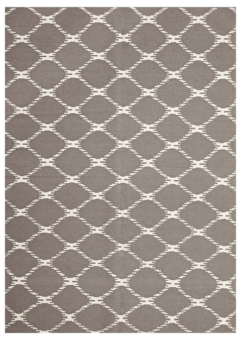 Nimes Grey Lattice Flatweave Rug